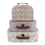 Set of 3 Decorative Vintage English Floral Suitcases Storage Boxes
